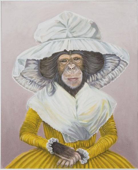 """""""Monkey Lady"""", house paint on canvas - 2012 24""""x36"""""""