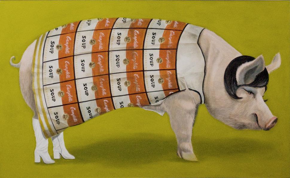 """Paper Dress Pig"", house paint on canvas - 2011 36""x48"""