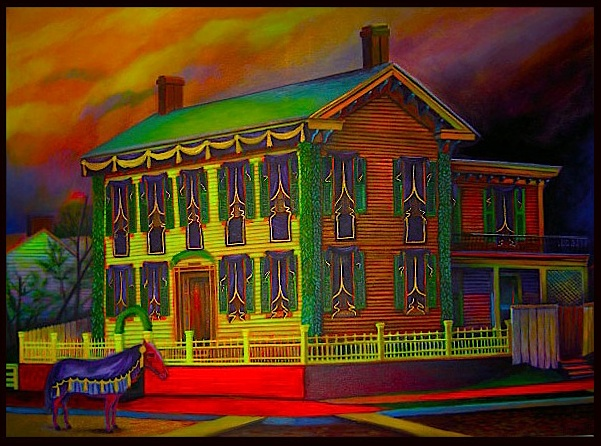 """Lincoln's House"", fluorescent paint on canvas - 2012 36""x48"""