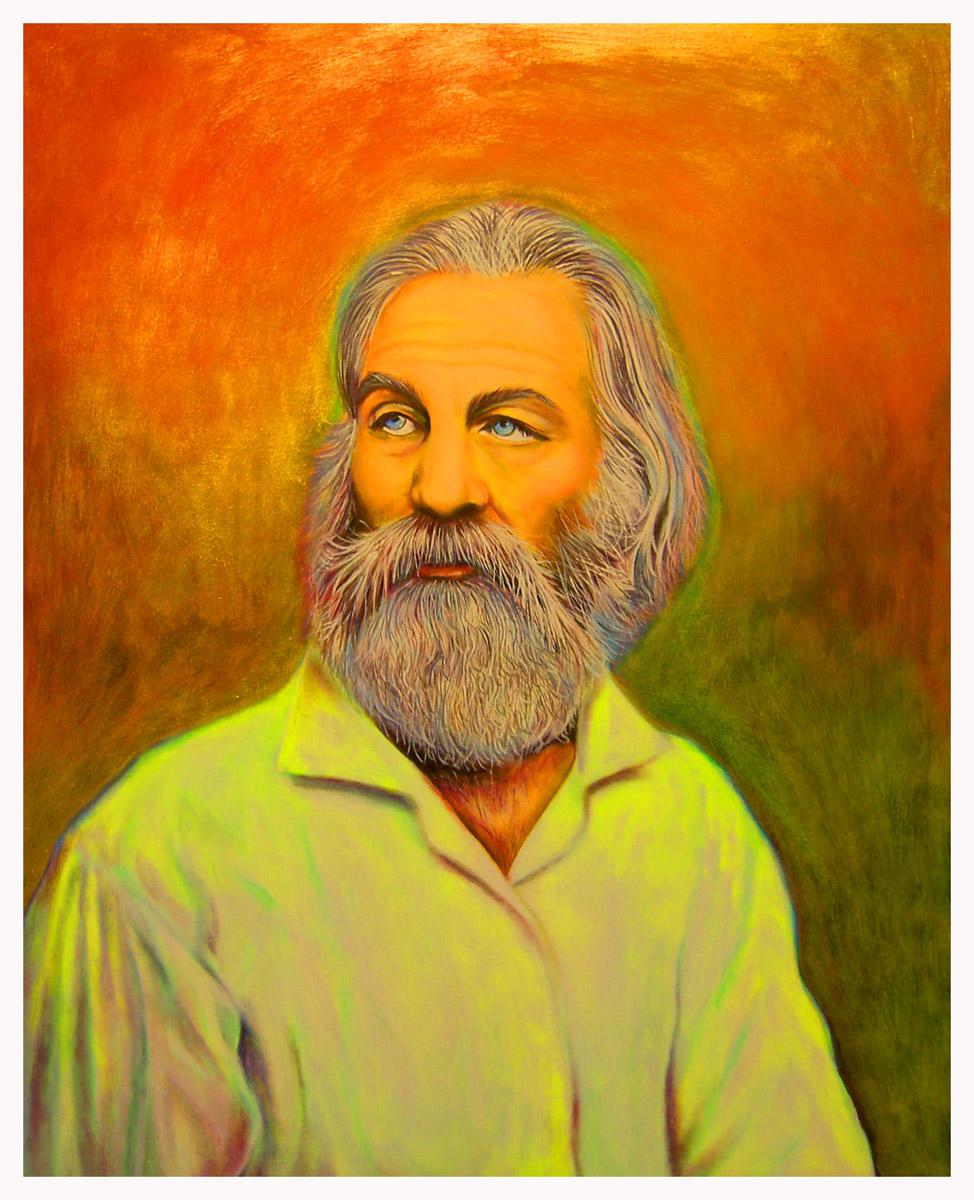 """""""Walt Whitman"""", fluorescent paint on board - 2011 14""""x18"""""""