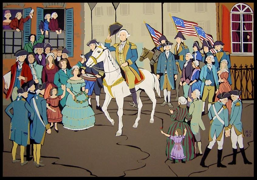 """Washington entering a village"", acrylic on canvas 2006 36""x48"""