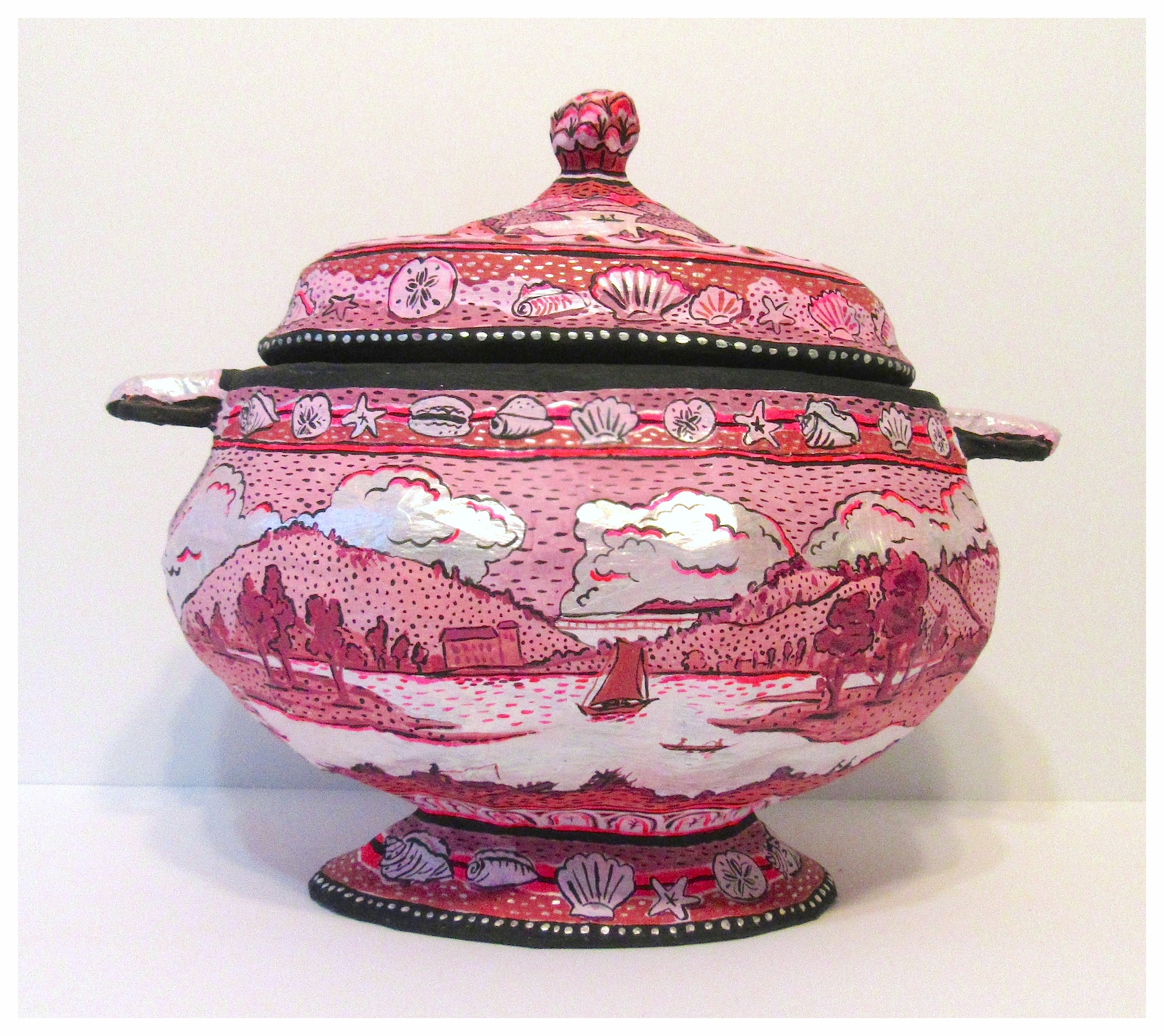 """Soup Tureen   """"Modeled after an Enoch and Sons piece entitled""""Belleville on the Pasaic River""""  Paper mache, masking tape ,bubble wrap 2017  aproximately 15 inches by 12 inches  Made exclusively for Bergdorf Goodman holiday window"""