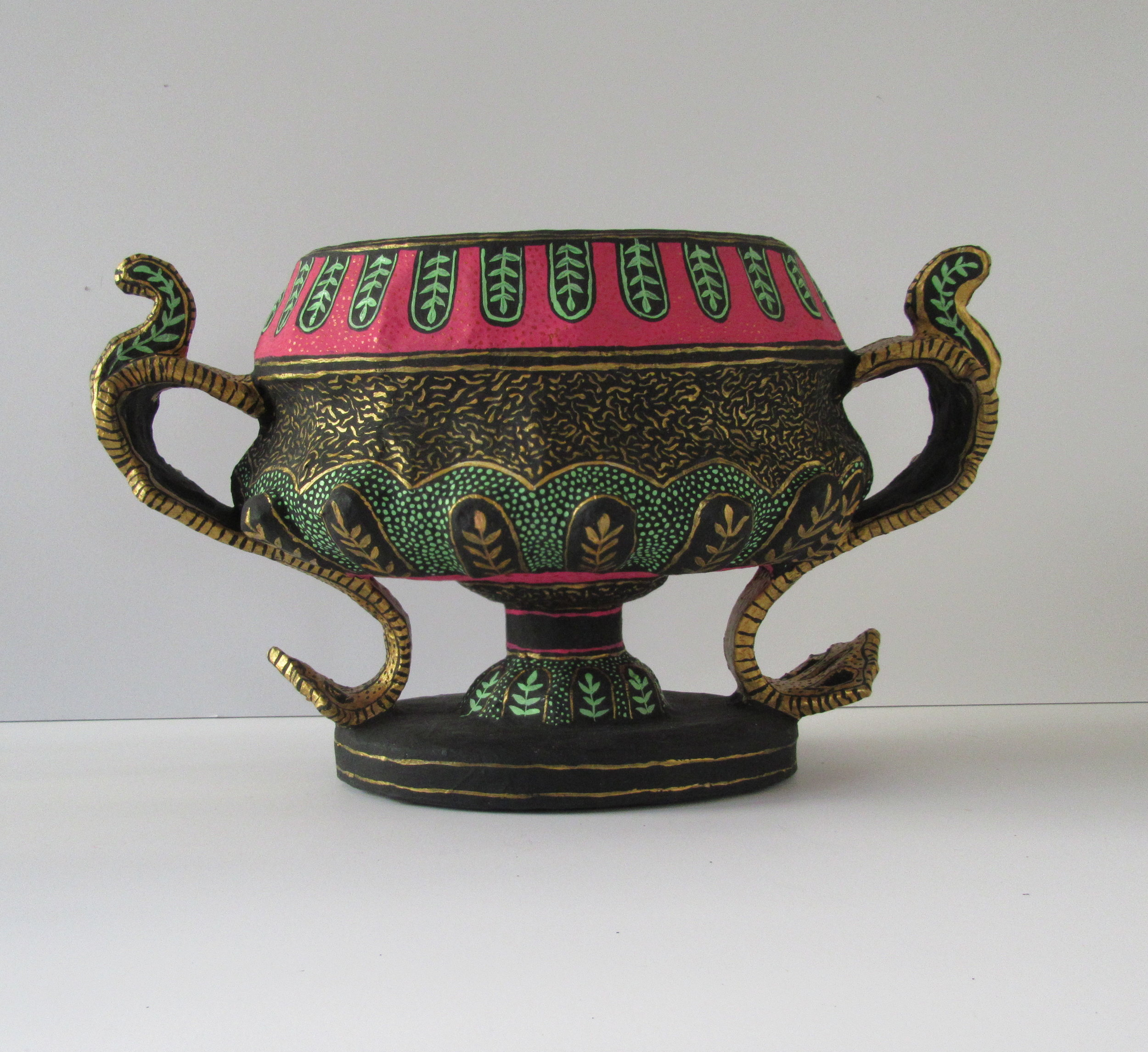 Red and Green Pedestal Bowl with handles