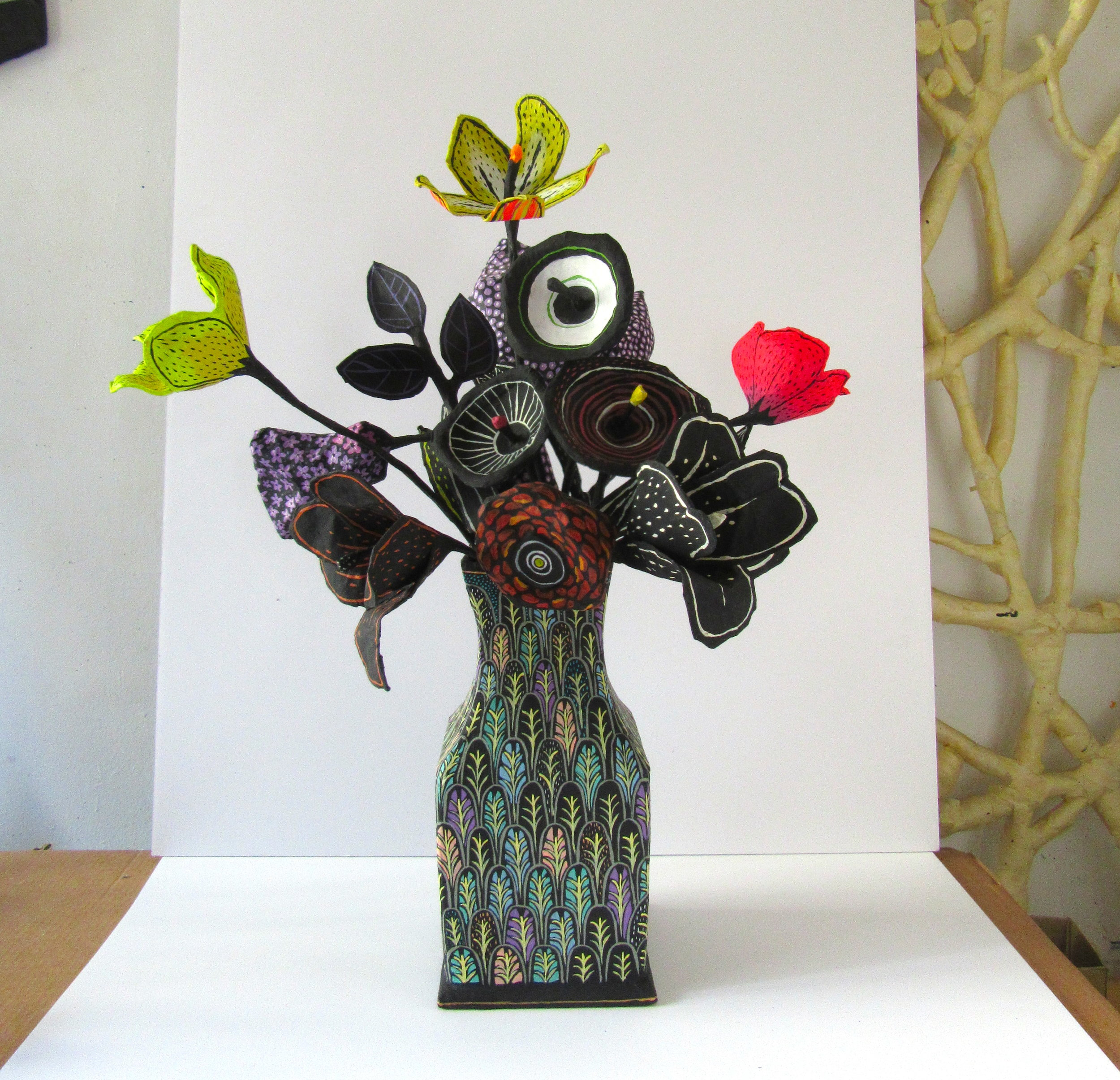 Painted jar with flowers