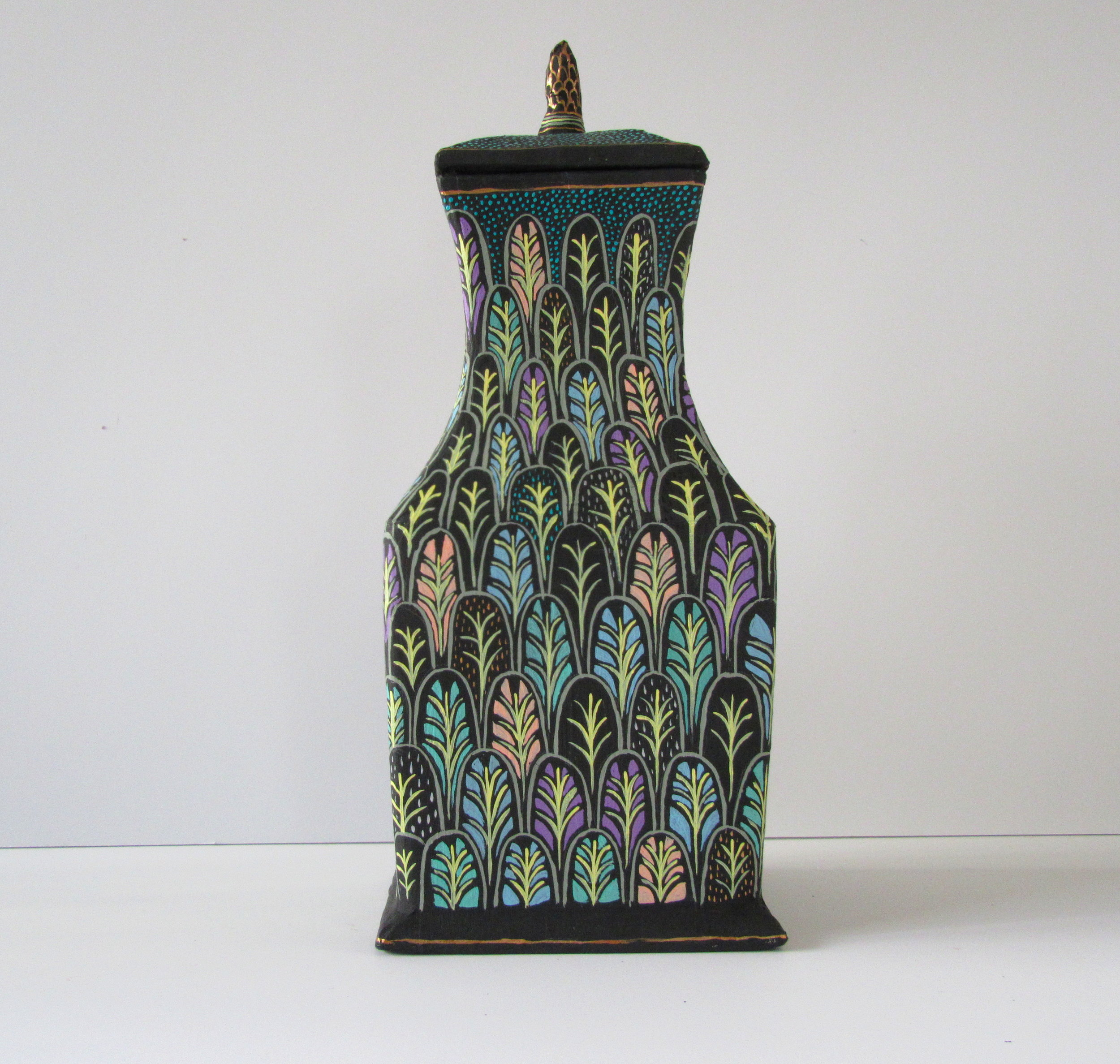 Painted Jar with lid