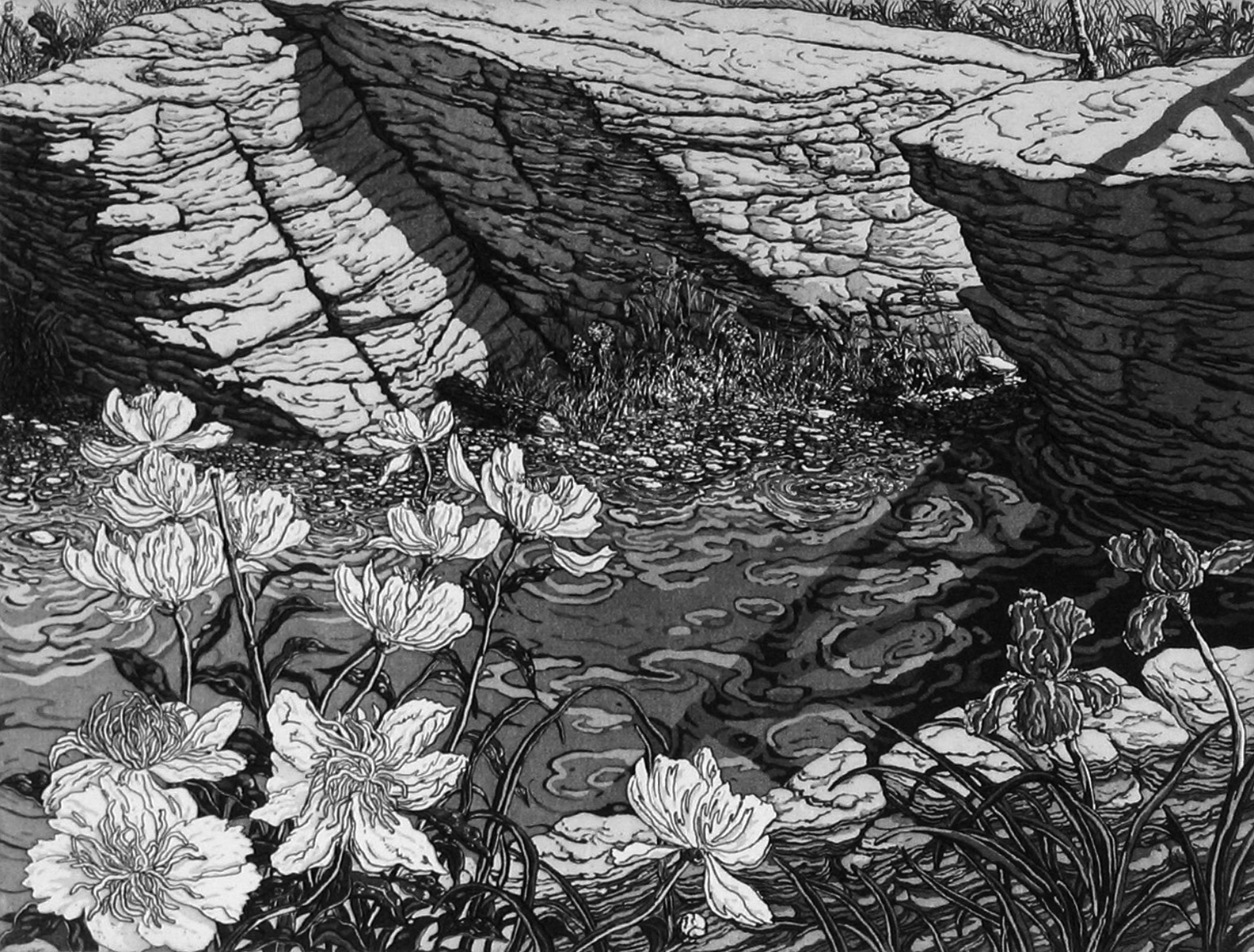 Jack Beal,  Peonies and Creek      on view in the prints gallery >