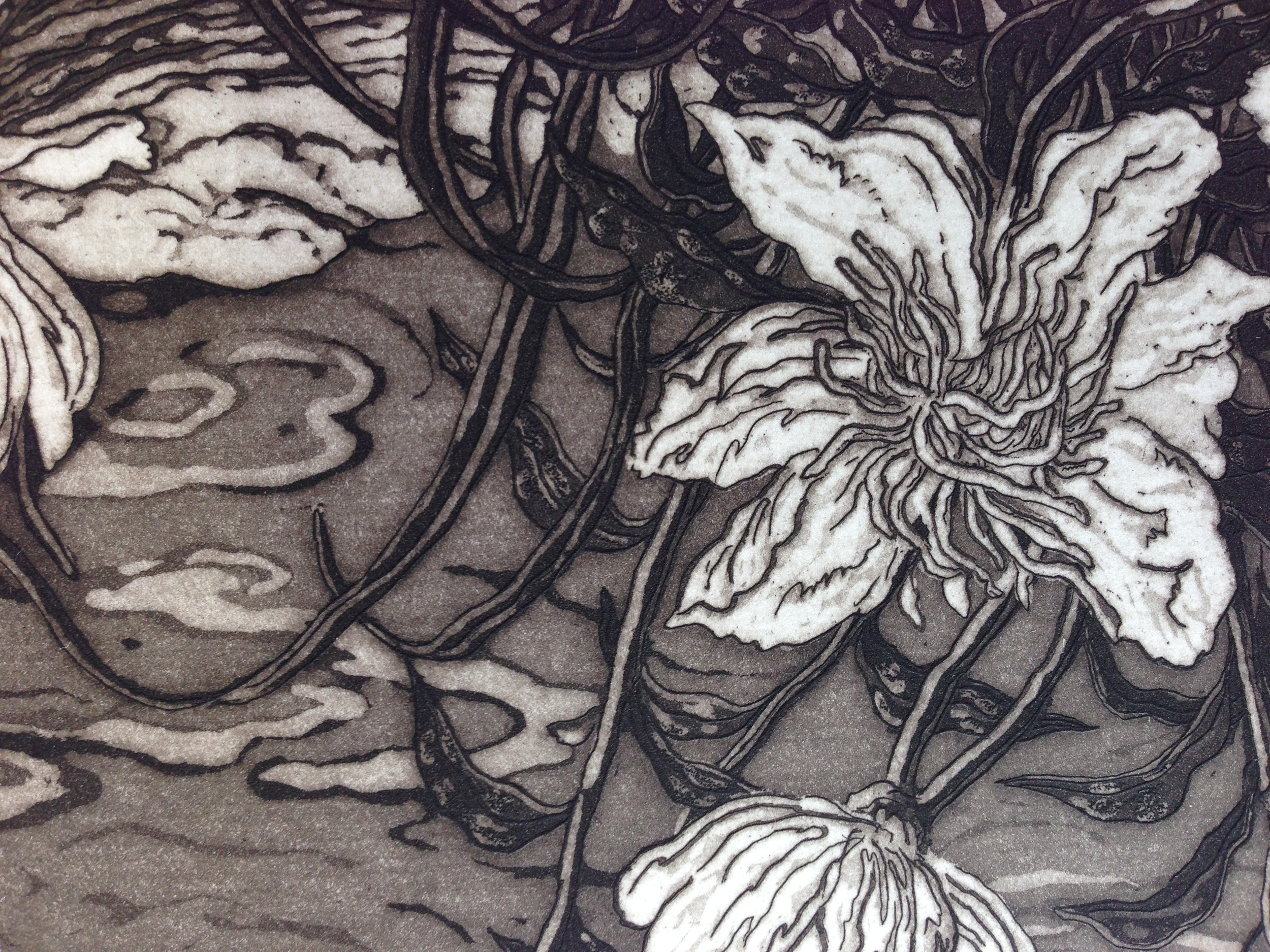 "This detail from ""Peonies and Creek"" reveals Jack's precise control and elaborate scheme."