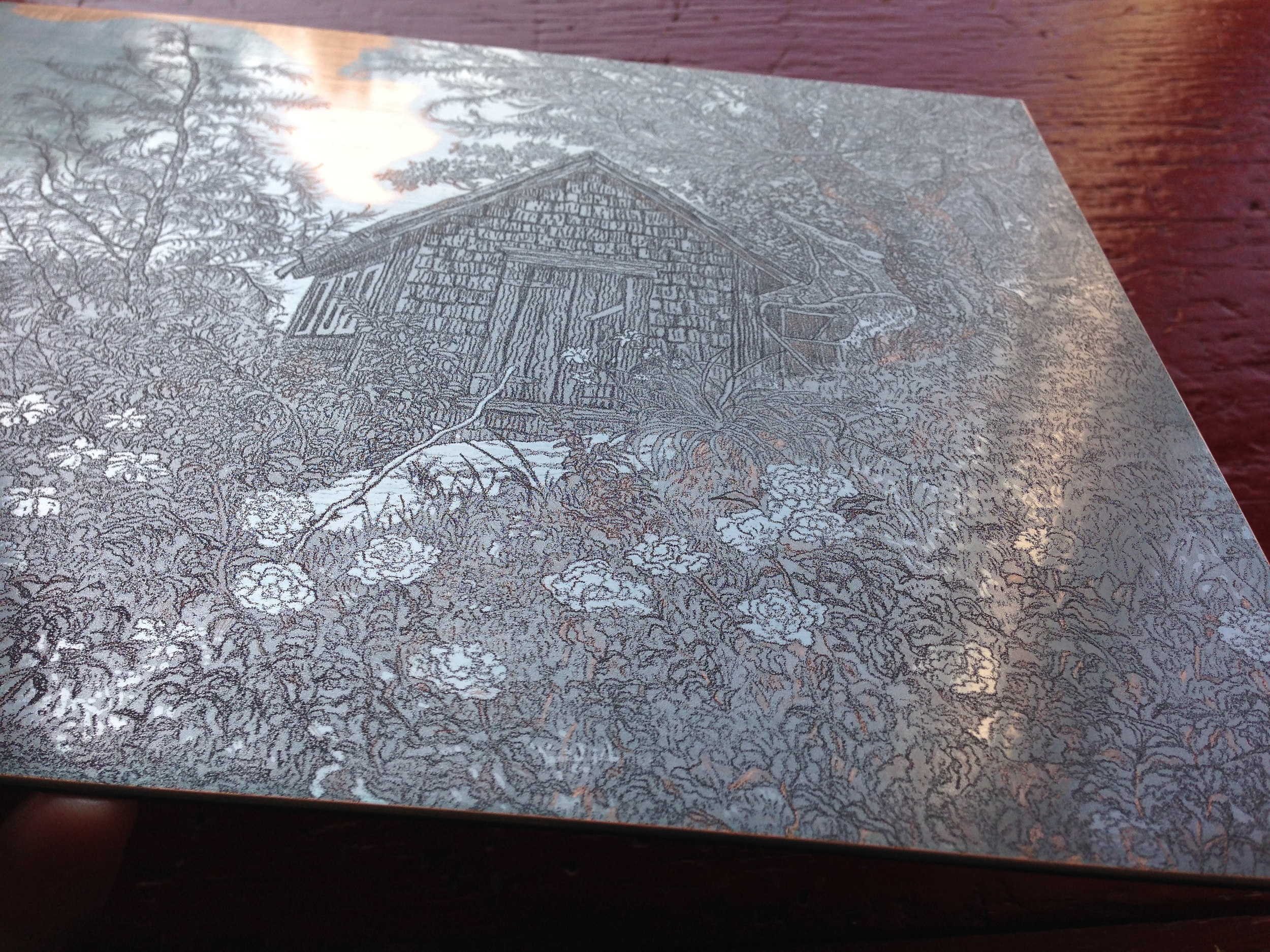 """This plate like several others in the """"Experimental Suite"""" was steel faced to create a surface that is much harder than the copper material alone."""