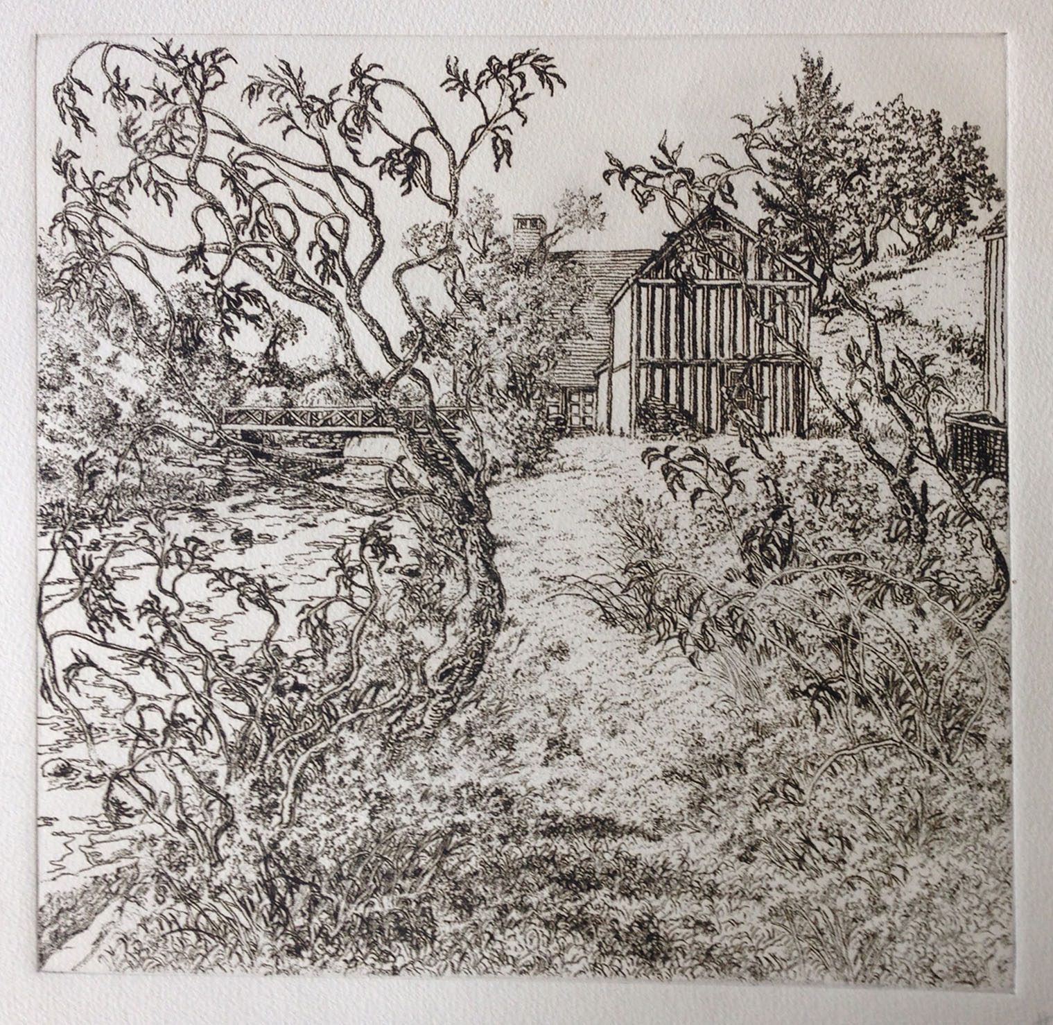 The ink drawing was used to develop the print as a soft ground etching, quite different in character from lines drawn with a needle into a hard ground.