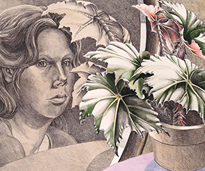Self-Portrait With Begonia (Hand-Colored)