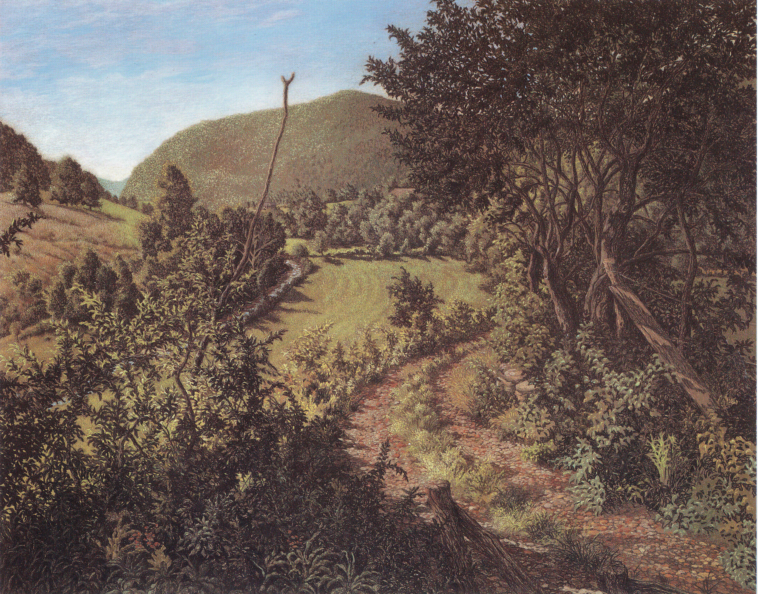 """Jack Beal's pastel """"Downstream (View from the Studio),"""" published in Eric Shane's book, """"Jack Beal."""""""
