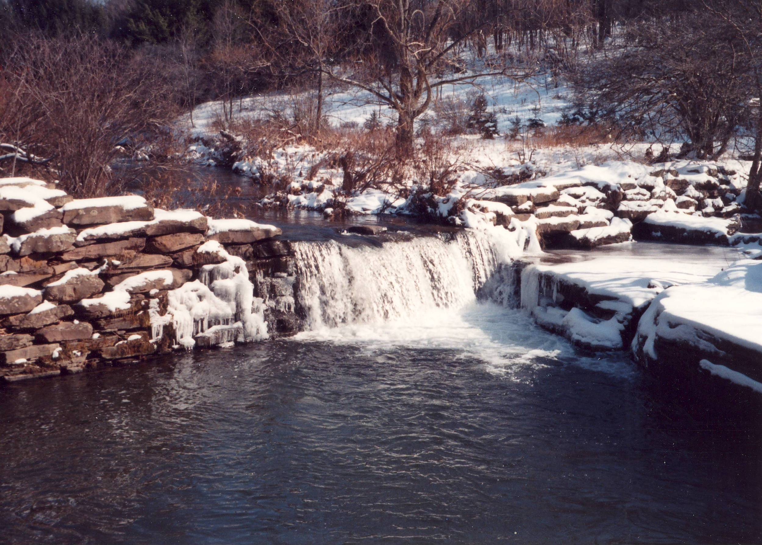 A photograph of the dam on Ouleout Creek before a major flood essentially destroyed it.
