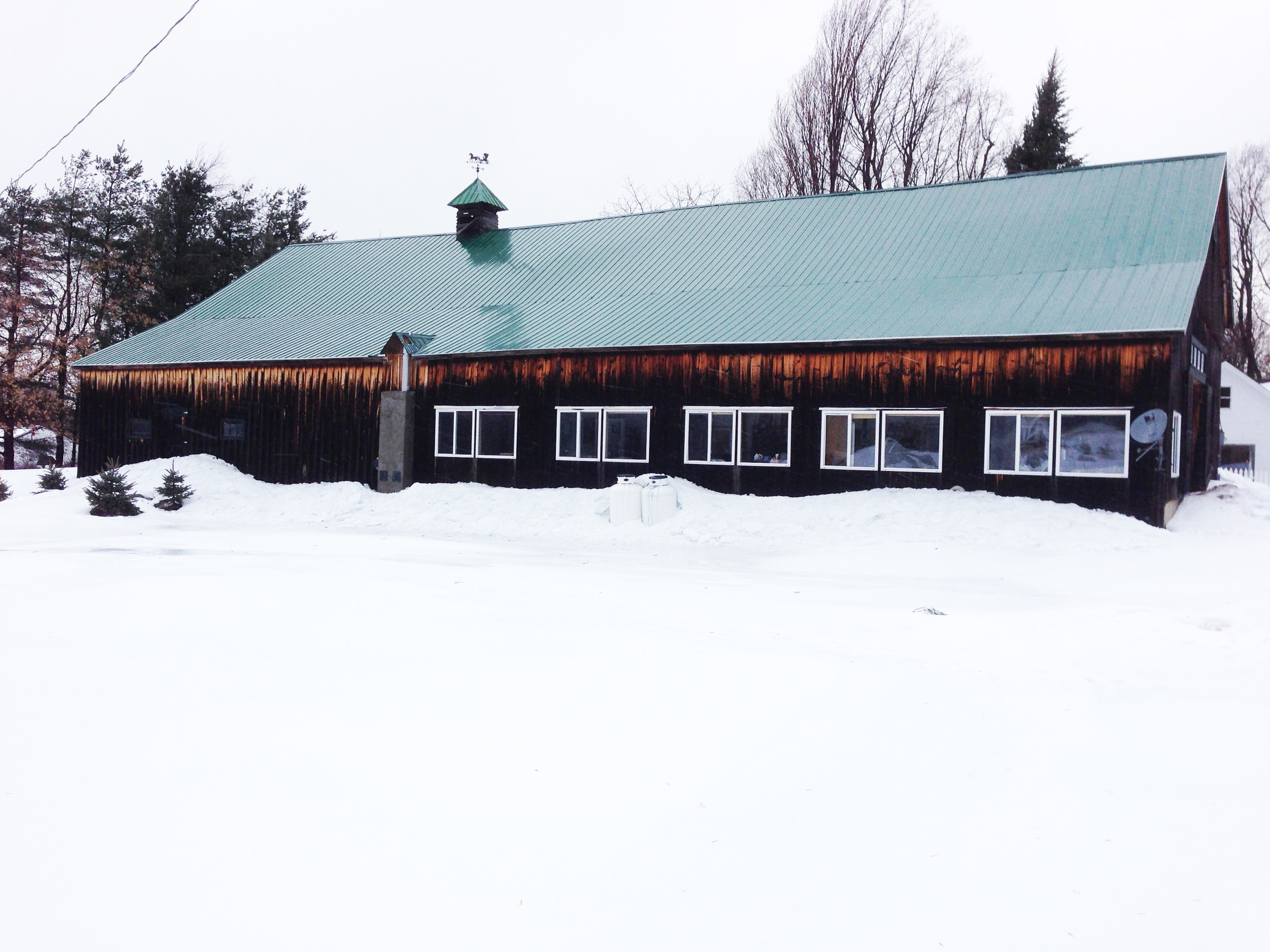 """The home of """"The Senefelder Club of the North Country."""" In December, 2013, a build-up of snow and ice came sliding down off the metal roof and took out the chimney and four windows. The windows have now been replaced but the chimney is waiting on a contractor."""