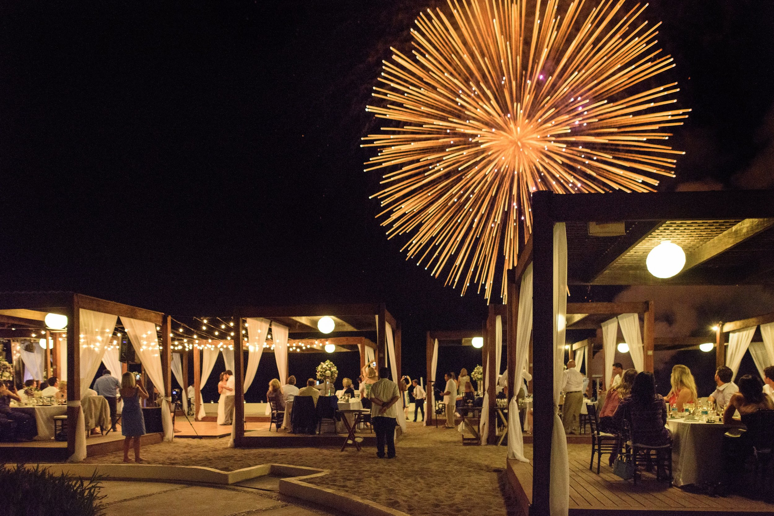 Mexican Destination Beach Wedding with Fireworks