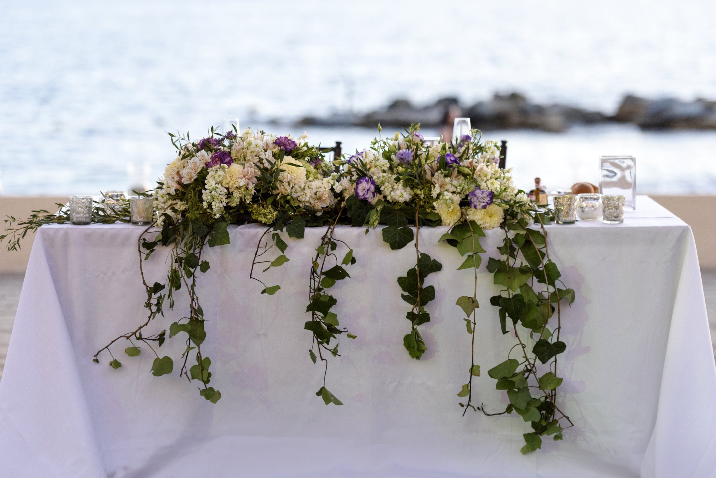 Mexico Beach Wedding Sweetheart Table Centerpiece with Ivy and Flowers