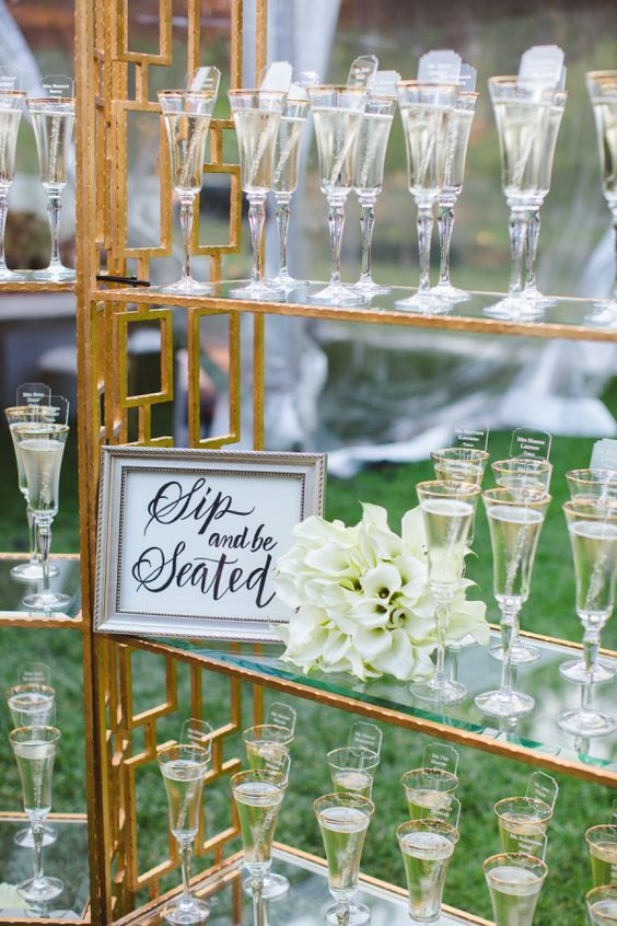 Place Card Champagne Glasses