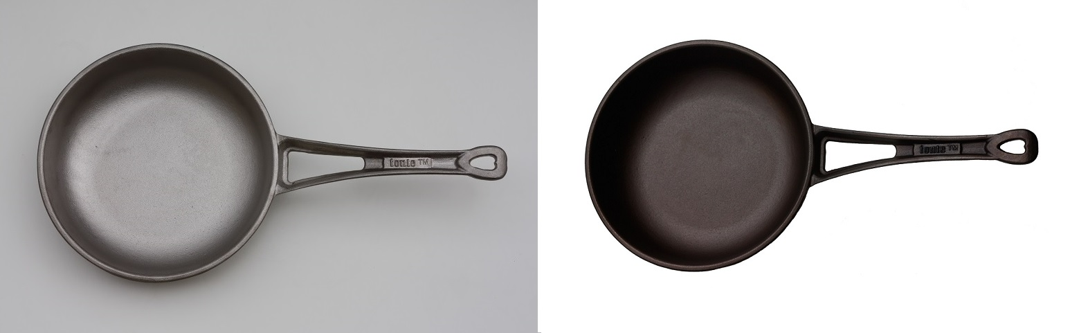 The same cast iron pan: bare, unseasoned iron after casting (left), and well-seasoned (right).