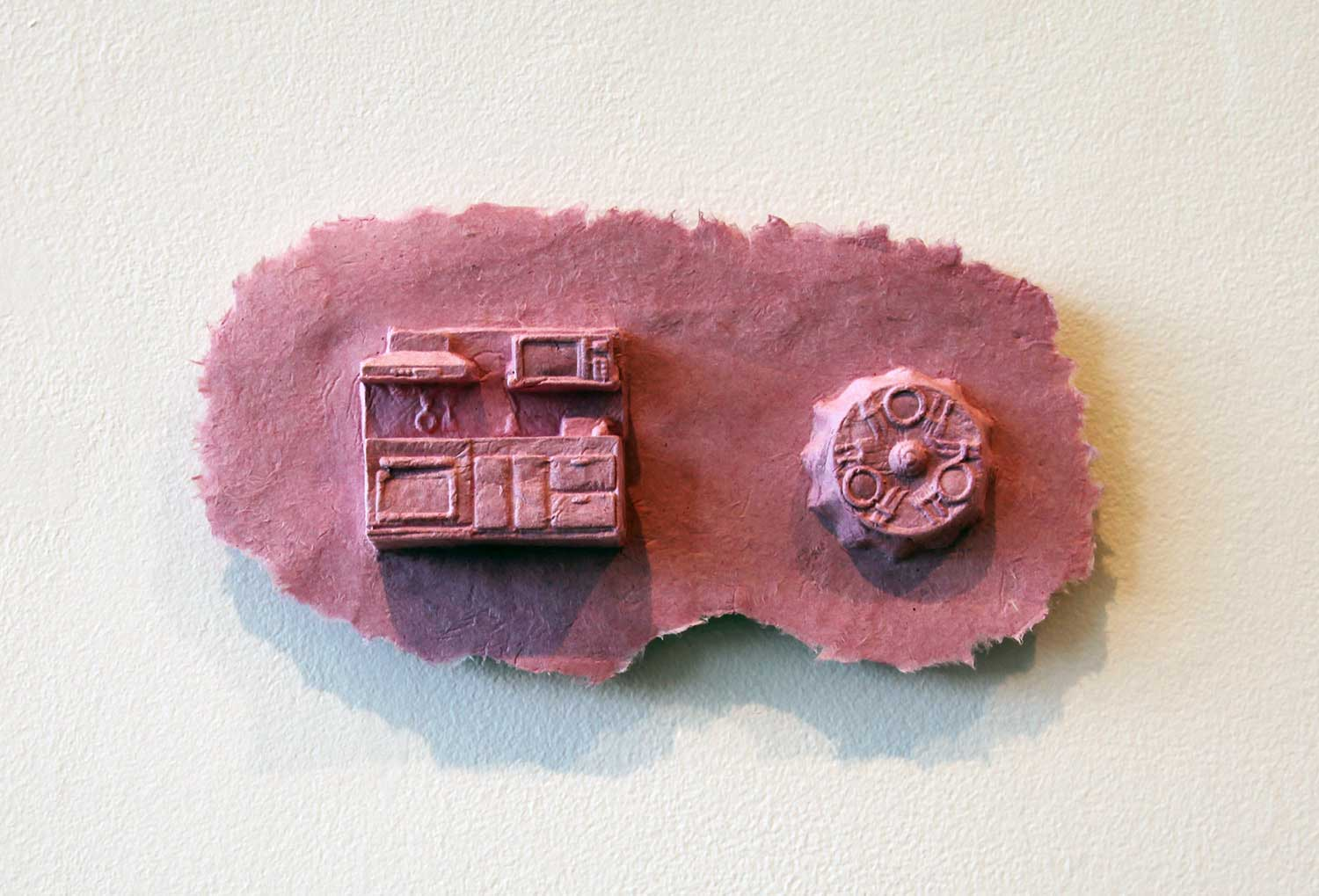 "I wish that I can live in the sky: kitchen     2013, Paper casting: abaca fiber, dye, 10.5""x5.25""x2"""