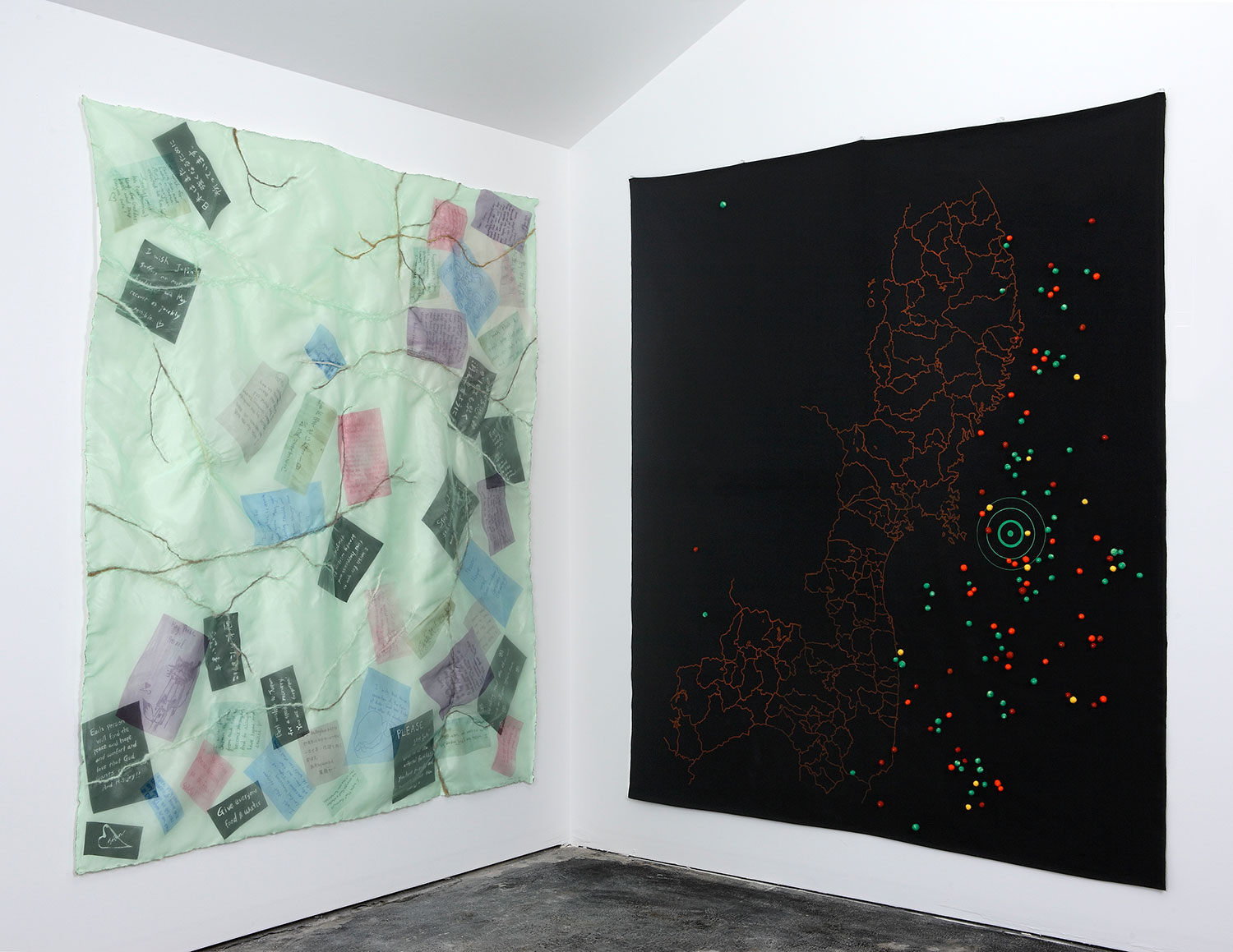 After the Flood  2011, 6.5'x6'x5.5' Installation: fabric, wool, dyes, ink, pins