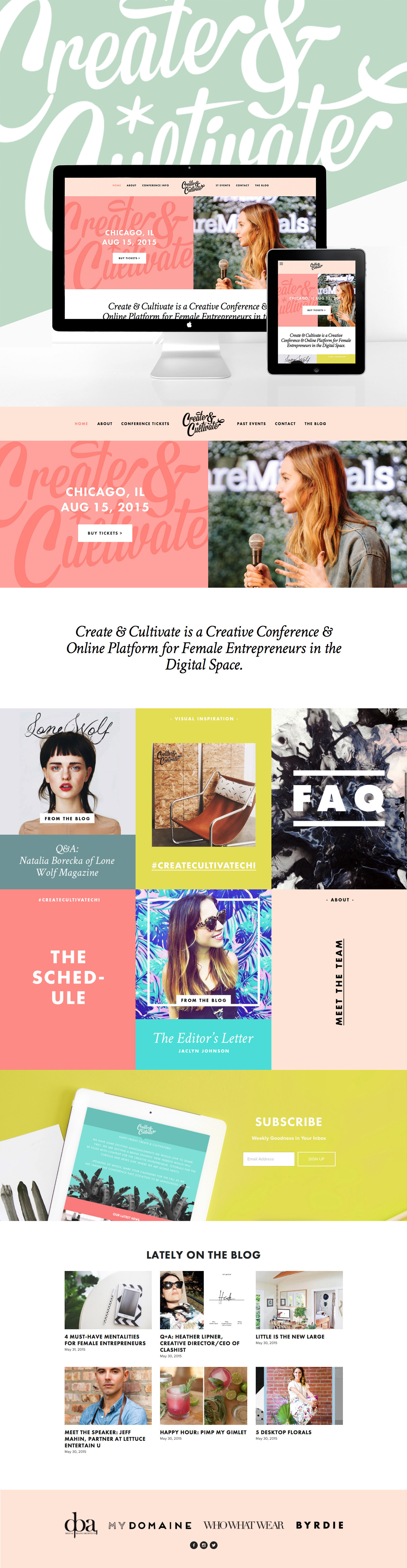 CREATE & CULTIVATE website by GO LIVE HQ