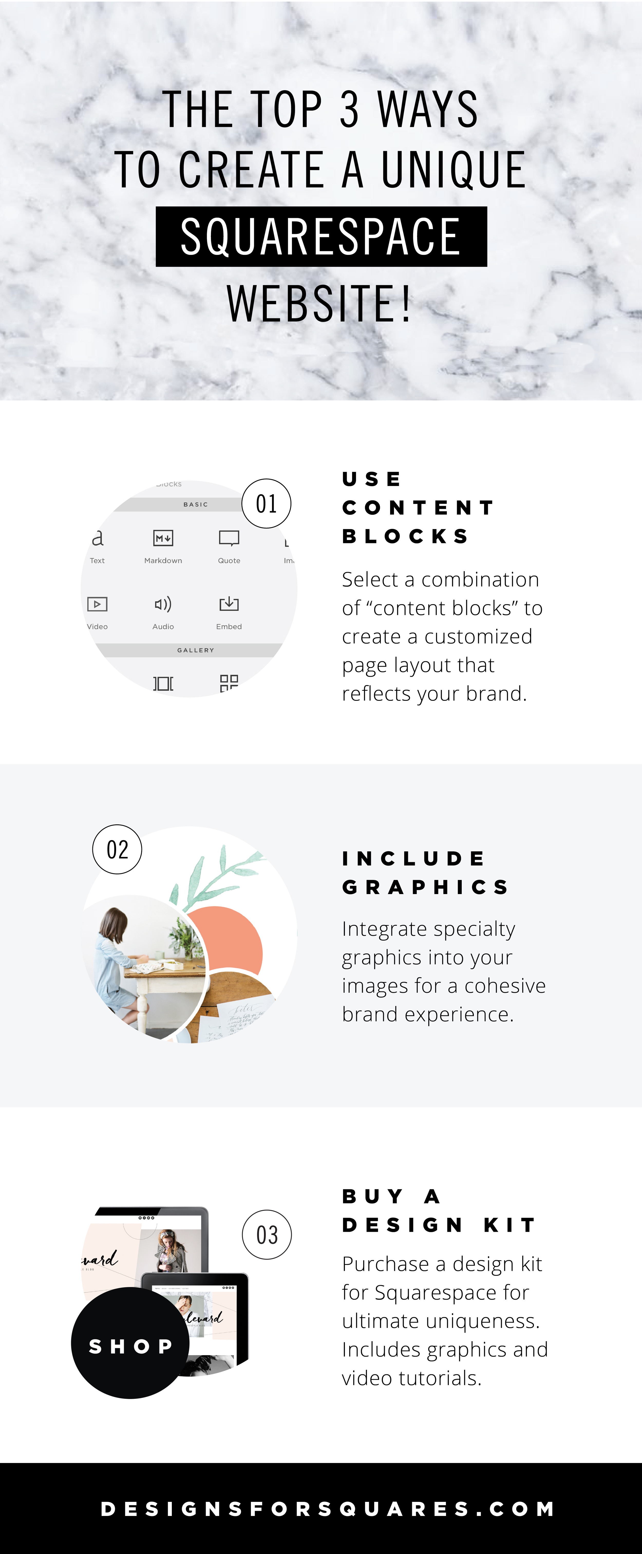 The top 3 ways to create a unique Squarespace website       By GOLIVEHQ.CO