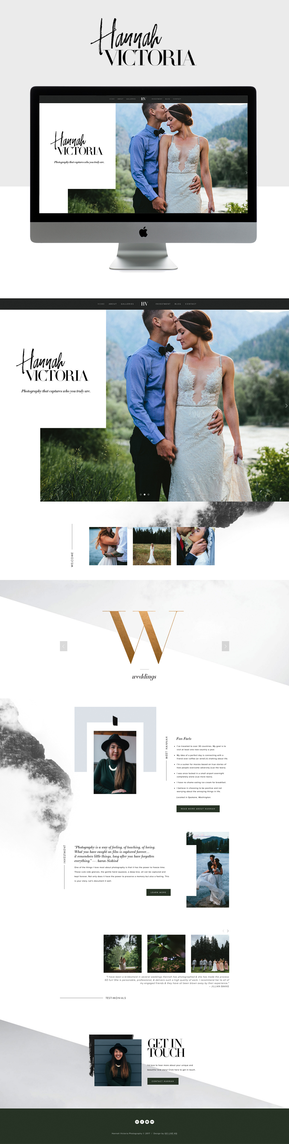 Intimate, Chic & Inviting Squarespace website design   designed by: golivehq.co