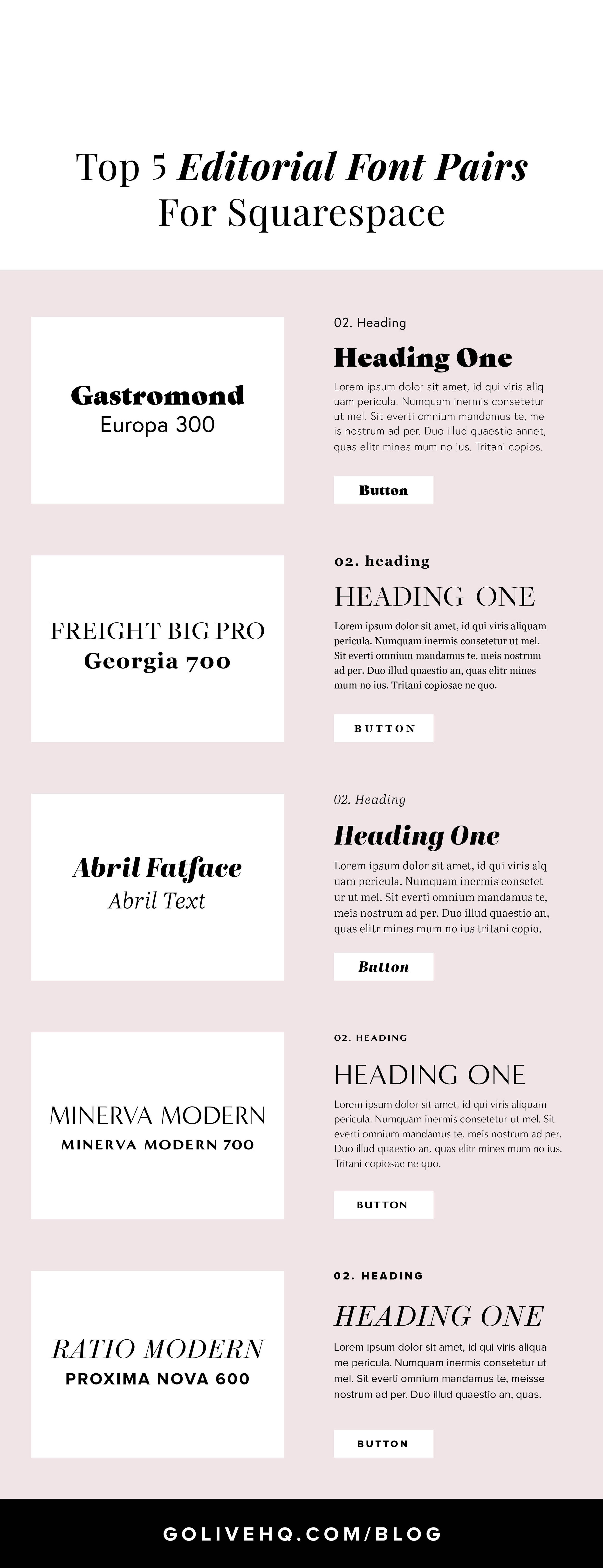 Top 5 Editorial Fonts For Squarespace | By Go Live HQ