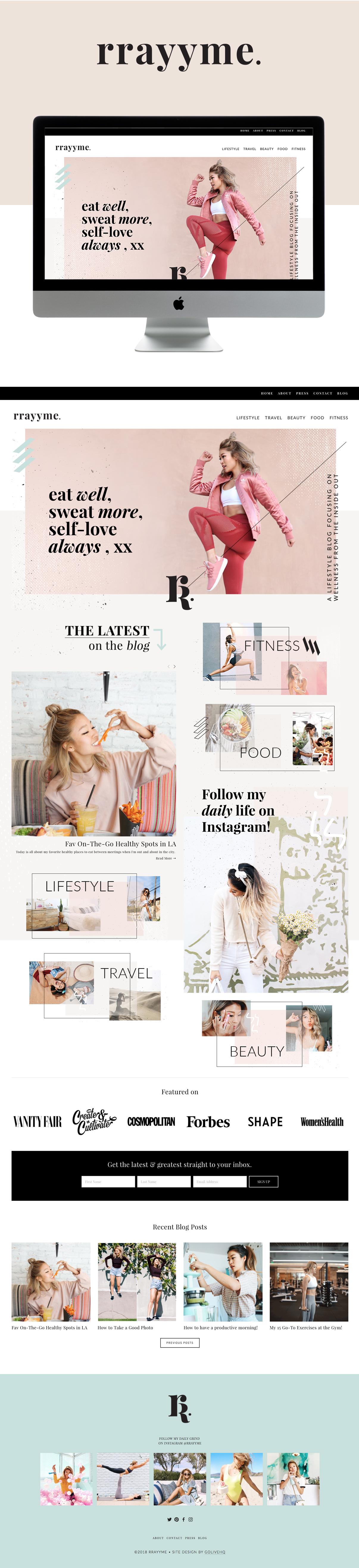 Modern Website Design For Fitness Blogger RRAYYME | Website Design by Go Live HQ