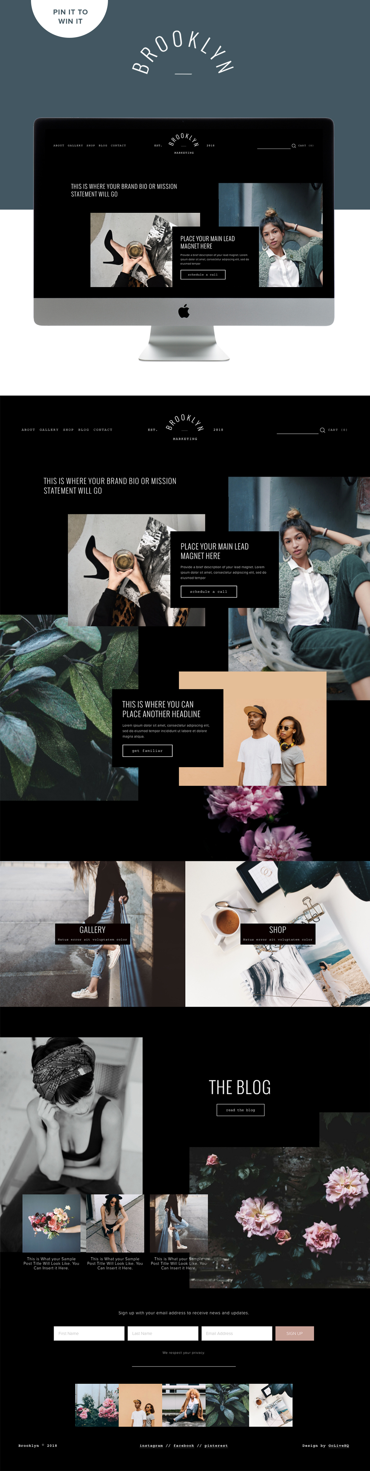 Edgy modern dark website template for Squarespace by Go Live HQ