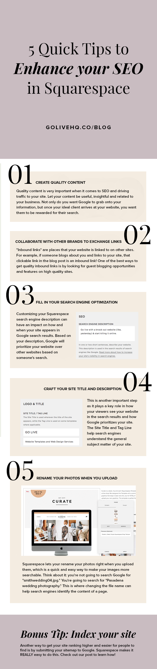 5 Quick Tips To Enhance Your SEO in Squarespace | By Go Live HQ