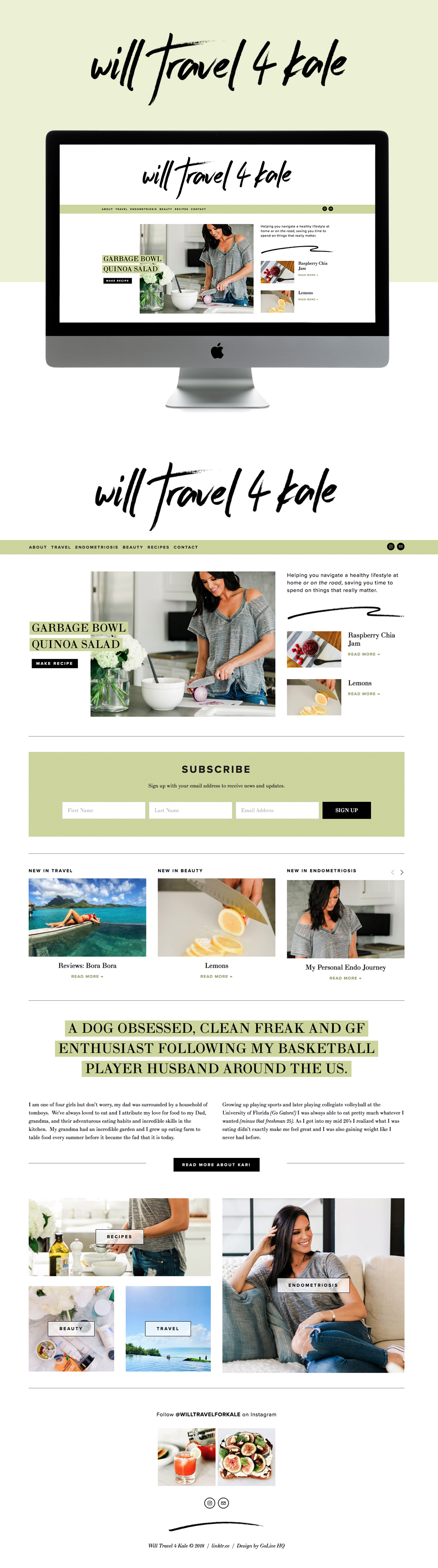 Clean, Bright and Modern Website Design for Health Blogger   Design by Go Live HQ