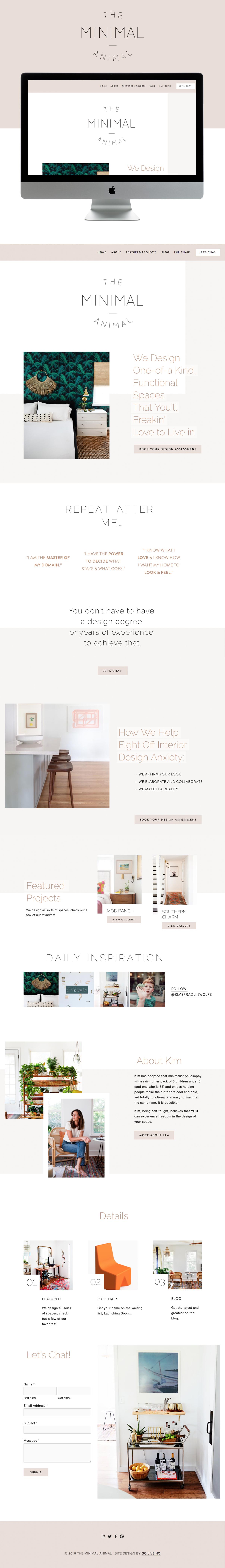 Unique, Fun, Minimal Website Design for Interior Designer | Go Live HQ