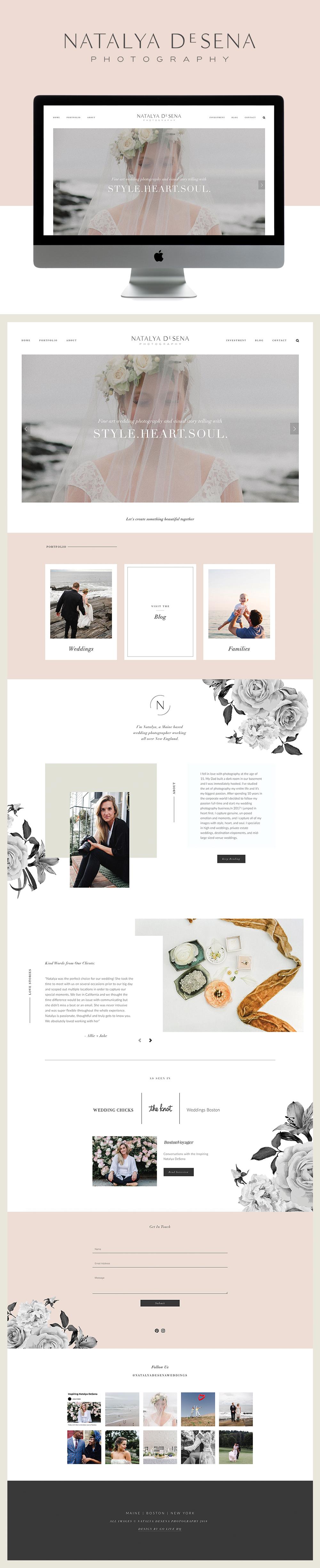 Captivating and soft website design for fine art photography Natalya DeSena | Design By Go Live HQ