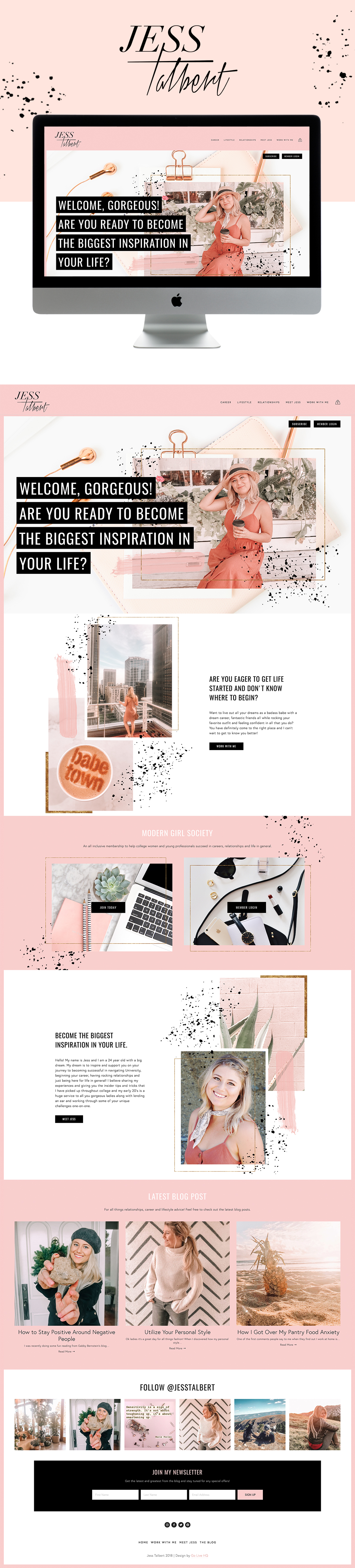 Artistic, Girly, Modern Website for Life Coach | Design by Go Live HQ