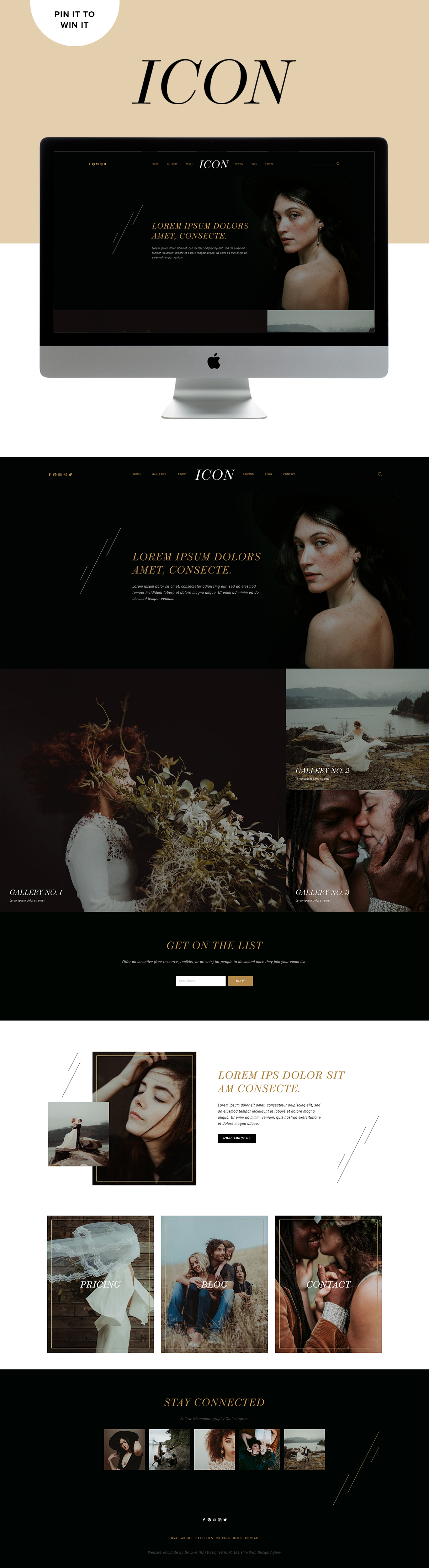 Dark, moody, modern website design for photographers | Design By GoLive in partnership with Design Aglow