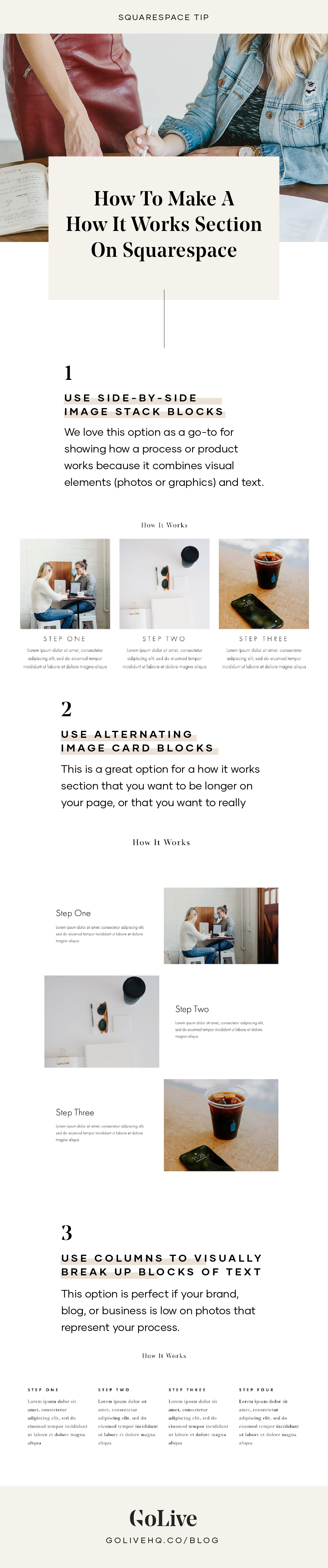 how to create a how it works section in Squarespace | By GoLive