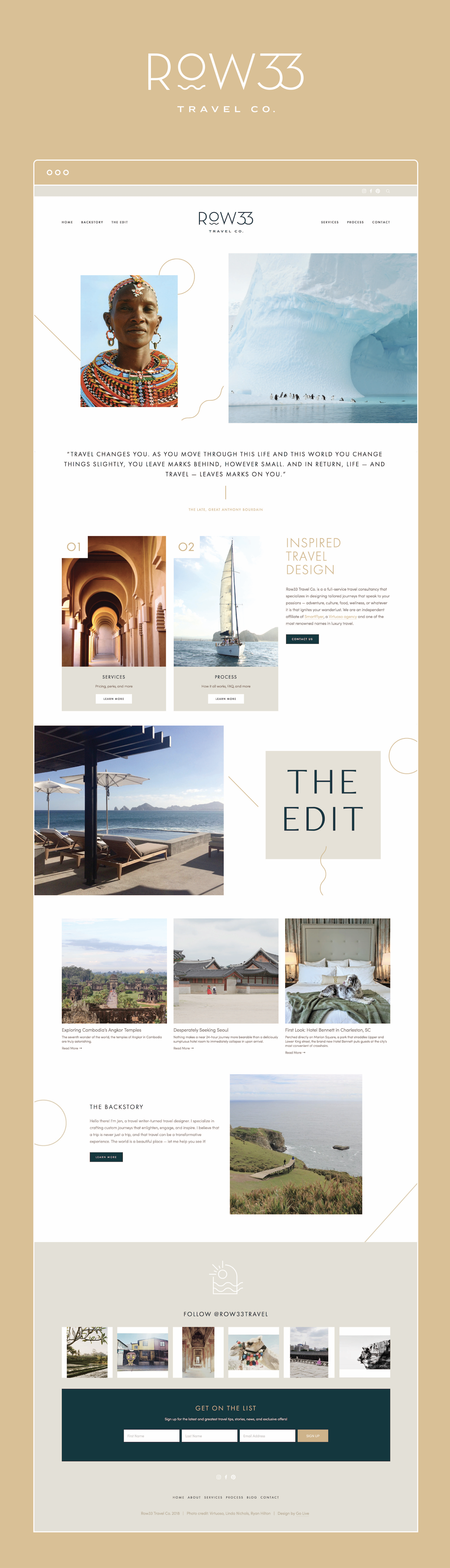 Minimal, Organic, Travel-Inspired Squarespace Website Design For Row33 Travel | By GoLive