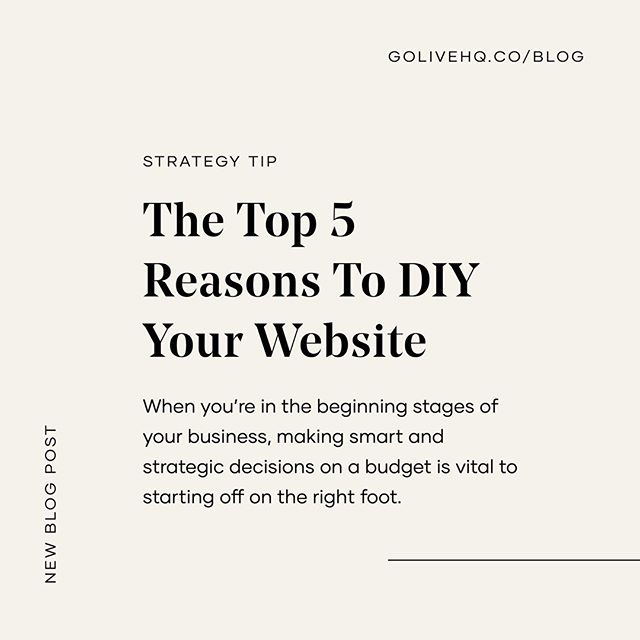 👩‍💻 This may be controversial! We're a website design company that WON'T encourage you to spend thousands of dollars on your first website. - 💸 We would actually recommend NOT investing thousands and thousands of dollars into your very first website design especially if you haven't even started running or working in your business. - 👩🏽‍🏫 We want to help you be smart on how you launch your business for the first time. DIYing your website is the number one thing we recommend to new business owners because it's a great investment, but gives you so much freedom, flexibility and ownership so you can continue to grow and change as you learn more about your business. - 📲 SWIPE to see why we'd recommend a DIY over a custom site and check out the link in our bio for the full post!