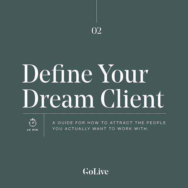 ✨ Our latest Mini Workshop is live in the shop!! Introducing Define Your Dream Client: A Guide For How To Attract The People You Actually Want To Work With! - 🙋🏽‍♀️ You're tired of working with people who turn your dream business into a personal nightmare and something needs to change. Yup, we've been there before and we definitely feel you. The good news? You don't have to stay in this rut forever. - 🎉 That's the concept we're covering in this mini-workshop. The GoLive Team will teach you who exactly is a dream client, why it matters that you find them, how to target your own dream client, and some essential changes you can make to market more effectively. - 📲 Head to the link in our bio to sign up for the Mini Workshop!