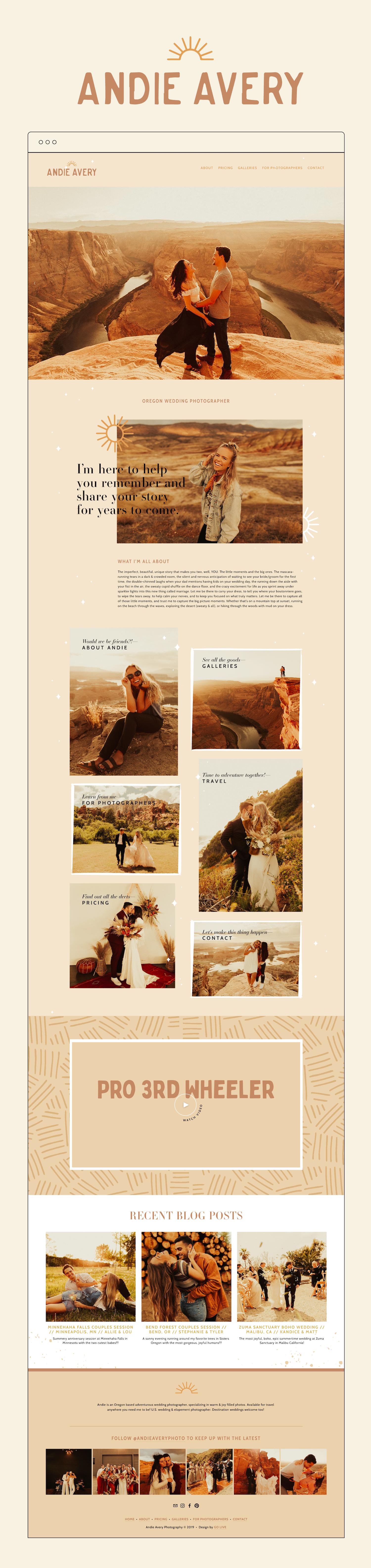 Desert Inspired Wedding Photography Squarespace Website Design | By GoLive Websites For Female Entrepreneurs