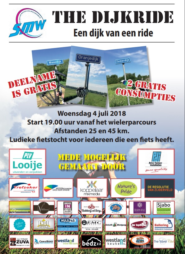 Voor iedereen met ee n fiets: de 1e dijkride!!!! Zorg dat je er bij bent!