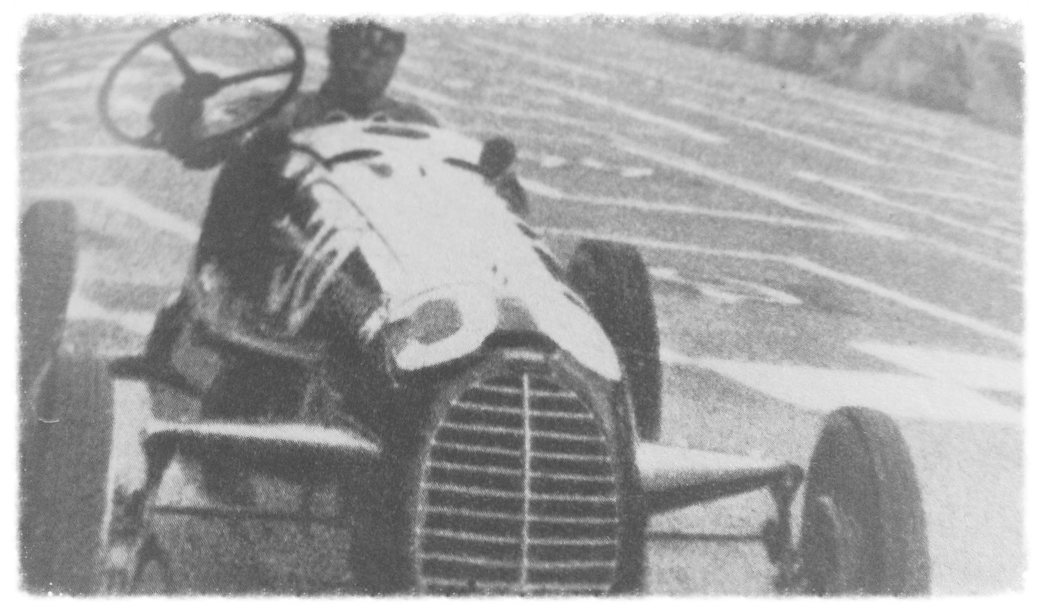 Nuvolari uses a wrench to steer