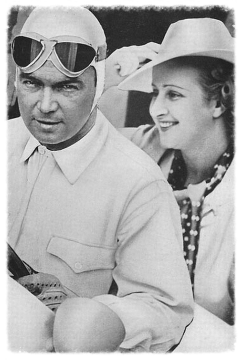 Caracciola and 'Baby' Hoffman: she spoke five languages, and invented the viewing tower at Indy; when she was barred from the pits, being a woman, she had a tower built in the in-field from which she could time the race. She had left her husband, the heir to a major company, for the debonair Louis Chiron, before falling in love with Caracciola after Charly's death. Charly, herself clairvoyant. had given Baby a photo of Baby and Caratch, and had written that Baby's future would be with Caratch when she died. Charly died some weeks after, and Baby and Caracciola would remain married until his death, twenty years later.