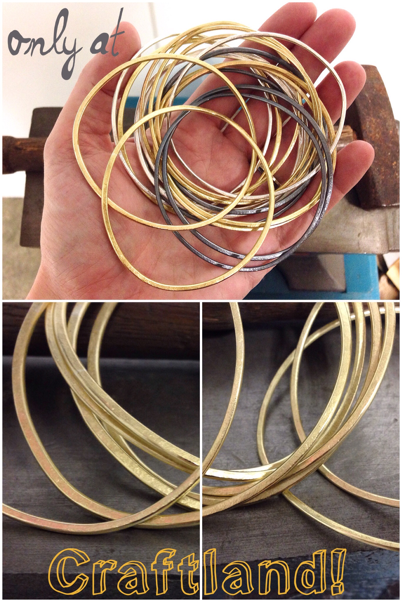 Craftland is the only place you can get brass bangles in person. Try them on, layer 'em up with the silver ones. Have yourself a golden holiday!