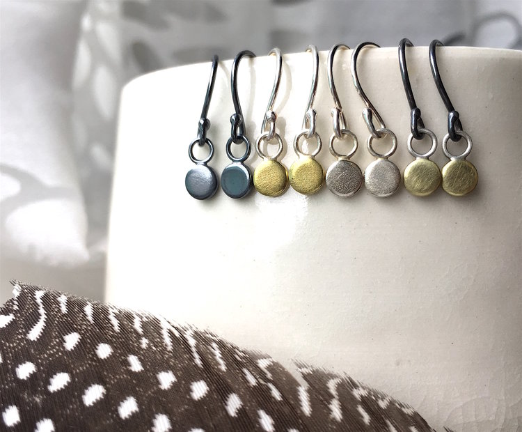 itty bitty dangles in brass and silver