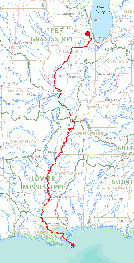 Map generated using the USGS's   Streamer