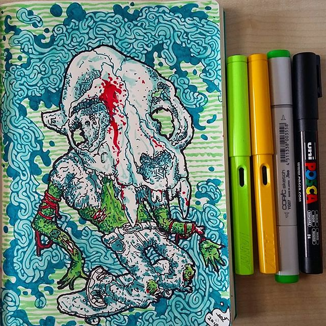 #lamy #leuchtturm1917 #copicmarkers #poscapens #ink #sketchbook #doodle #skate #skull #zombie