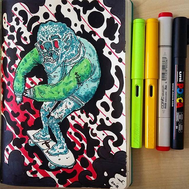 #lamy #leuchtturm1917 #copicmarkers #poscapens #ink #sketchbook #doodle #skate #monster #werewolf