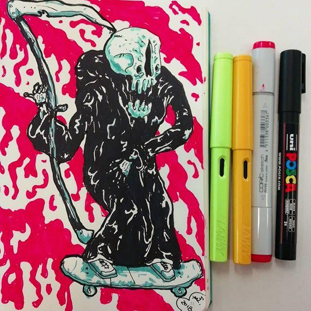 #lamy #leuchtturm1917 #copicmarkers #poscapens #skate #skull #sketchbook #death