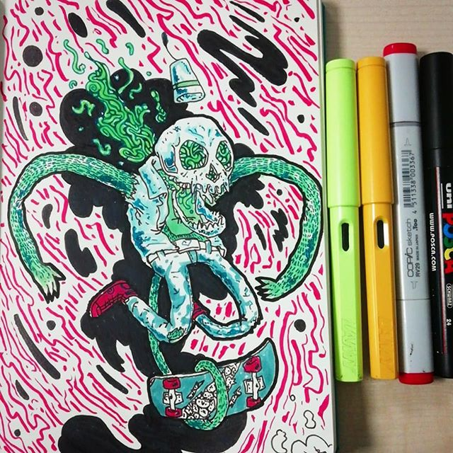 #lamy #leuchtturm1917 #copicmarkers #poscapens #sketchbook #skull #skate #ink #doodle #monkey